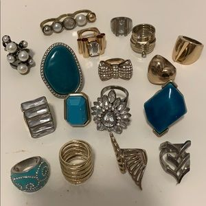 Large Bundle of Assorted Statement Rings